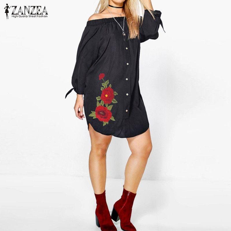 ZANZEA Femmes Robe 2018 Automne Sexy Off Épaule Mini Robes Vintage Rose Broderie Casual Lâche Asymétrique Hem Robes