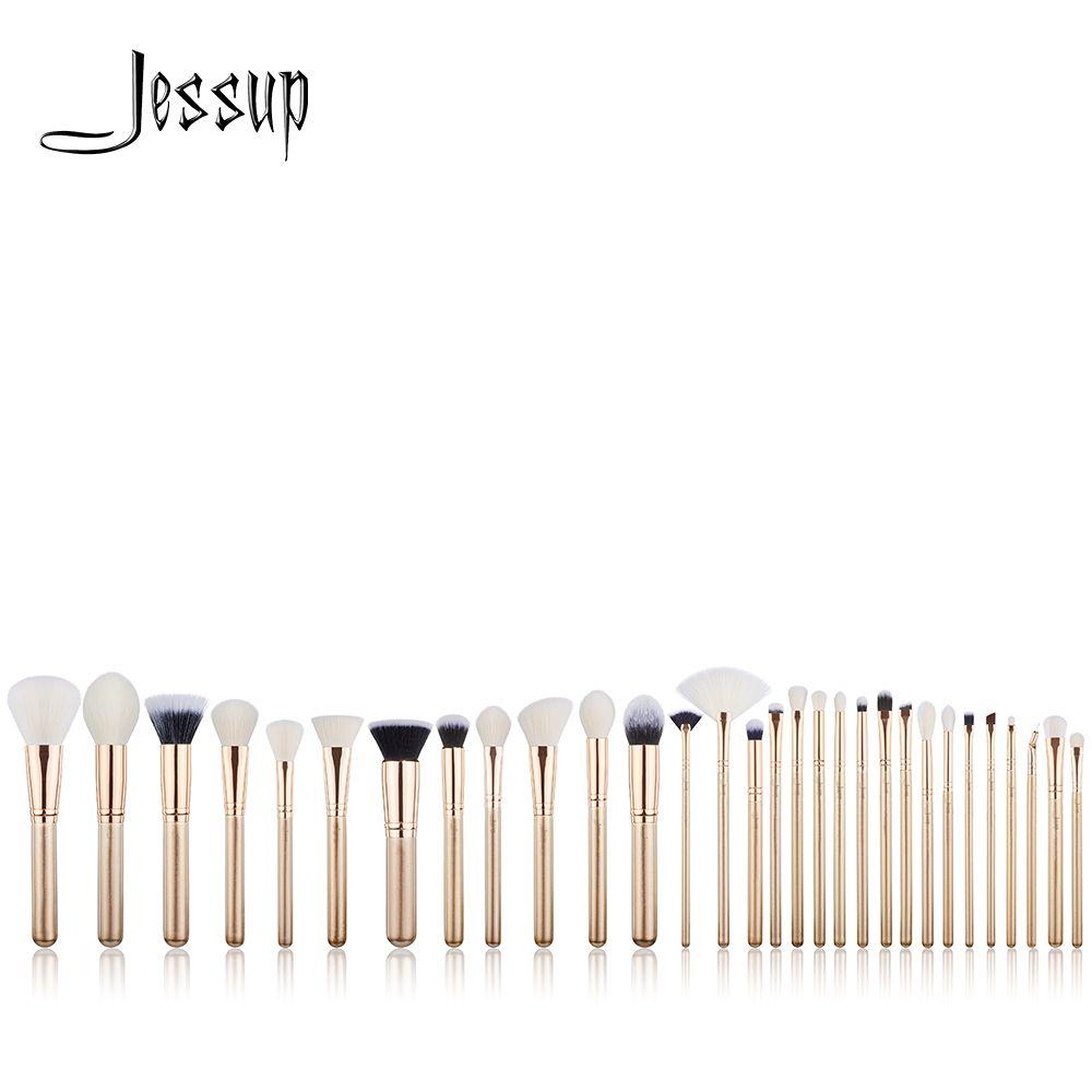 Jessup brushes 30PCS Golden/ Rose Gold Professional Makeup brushes set Beauty tools Make up brush POWDER FOUNDATION EYESHADOW