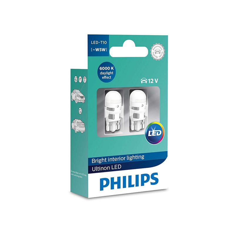 Philips LED W5W T10 11961ULW Ultinon LED 6000K Cool Blau Weiß Licht Blinker Lampen Innen Licht Stilvolle Fahren, paar