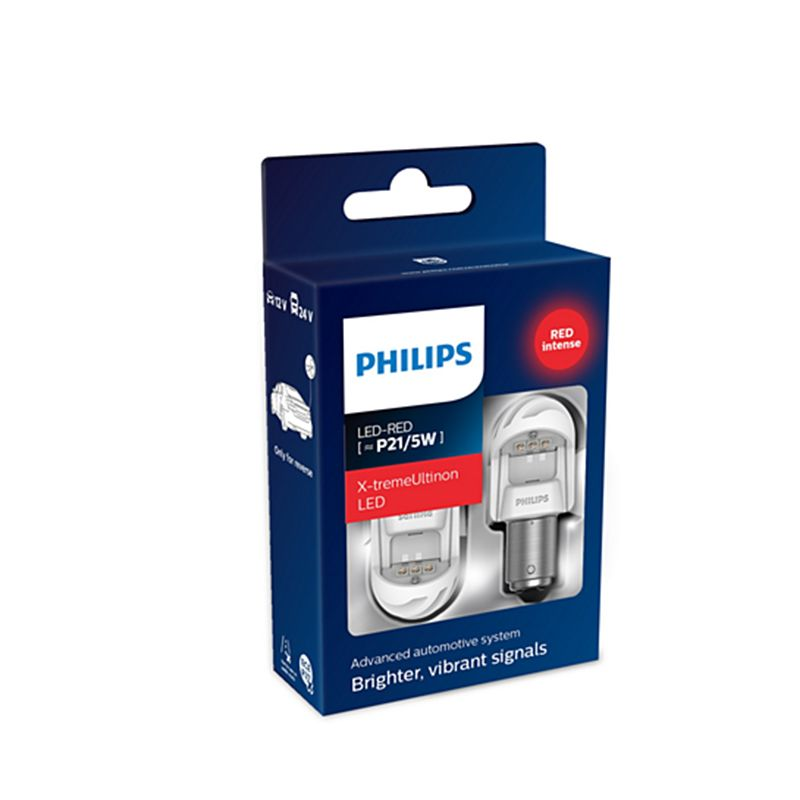 PHILIPS 11499XURX2 P21/5 W 12 V/24V-LED (BAY15d) 2,2/0,3 W ROT X-tremeUltinon LED Gen2 (K. pack. 2 stücke) 62850