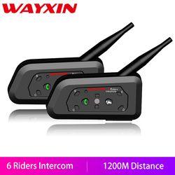 WAYXIN Motorcycle Bluetooth Intercom 2 Pcs Helmet Intercom Upto 6 Riders 1200M  Wireless Waterproof Interphone Headsets  R6