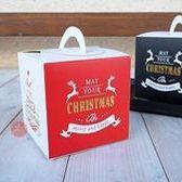 提盒_唯美聖誕燙金紅色款_101076◎適合3吋.包裝.紙盒.蛋糕盒.聖誕節.燙金.紅色.麋鹿.文字.節慶