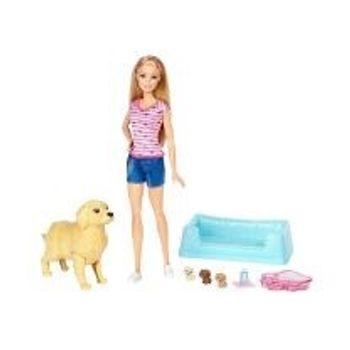 Κούκλα Barbie και Νεογέννητα Κουταβάκια
