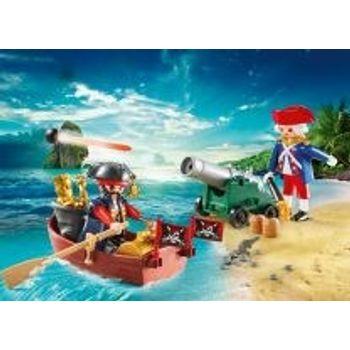 PLAYMOBIL 9102 Βαλιτσάκι Λιμενοφόρο Κανόνι και Πειρατής Βάρκα