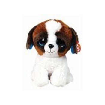 Λούτρινο Σκύλος Καφέ Λευκό 23cm