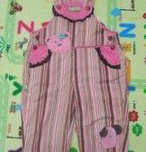 品牌童裝~~女童 可愛條紋背帶褲