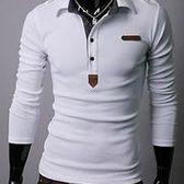 批發男裝長袖POLO衫 皮標設計 男裝休閒POLO衫