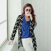 【S. Girl】時尚印花長版西裝外套-黑