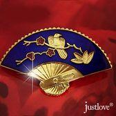 【justlove璀璨配飾】喜到開運宮廷風喜鵲圖喜宴慶典鋯石扇形百搭胸針(藍/黑)BR-0006
