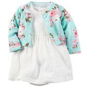 美國 Carter / Carter's 嬰幼兒春夏外套洋裝包屁衣組_縷空雷絲印花(CTGSCD028)