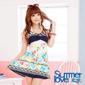 【夏之戀SUMMERLOVE】浪漫玫瑰洋裝三件式泳衣E13724