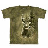 『摩達客』*大尺碼3XL*美國進口【The Mountain】自然純棉系列 孤獨鹿 棕綠色T恤 (預購)