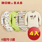 (購物車)【MOM AND BAB】頑皮小狸貓長袖肩扣包屁衣(四件組禮盒組)