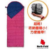 【美國 North Field】丸洗 15℃超輕全開式信封型化纖睡袋/附壓縮袋(200cm)露營可機洗涼被/20075 深紫/藍