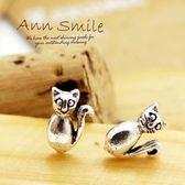 【微笑安安】搖尾小貓925純銀針式耳環