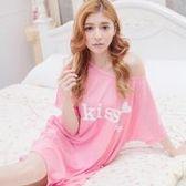 lingling日系 全尺碼-KISS ME愛心連身裙短袖居家睡衣(甜美紅粉)A2952