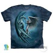 【摩達客】(預購)美國進口The Mountain 天使與龍 純棉環保短袖T恤