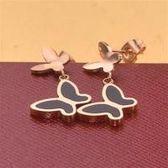 【米蘭精品】玫瑰金貝殼耳環耳針式925純銀雙蝴蝶