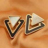【米蘭精品】玫瑰金貝殼耳環耳針式925純銀韓國三角形