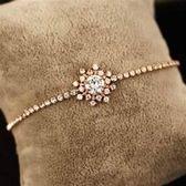 【米蘭精品】玫瑰金純銀手鍊鑲鑽手環精緻滿鑽閃亮雪花73bx56
