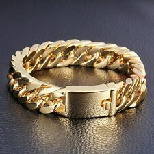 Best Reviews Classic 85 14mm 18K Gold Mens Jewelry Stainless Steel Cuban Chain Bracelet