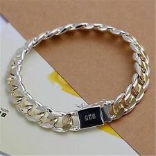 Price Compare Fashion Silver gold plated Men Chain Bracelet Bangle Jewelry Gift 10MM