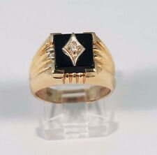 Big Discount 14K Yellow Gold Mens Black Onyx and Diamond Ring Size 9