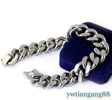 Big Discount New Heavy Silver Tone 316L Stainless Steel Curb Chain Mens Fashion Bracelet 9