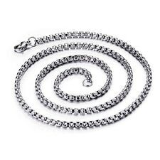 Big SALE Silver Tone Stainless Steel Box Link Chain Mens Boys Necklace 3mm 18inch