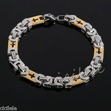 Mens Gold Silver Stainless Steel Cross Bracelet Bangle Chain Wristband 86 Best Price