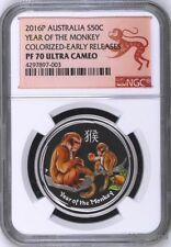 Buy 2016 P Australia PROOF COLORIZED Silver Lunar Year of Monkey NGC PF70 12oz Coin Online