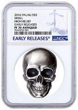 Get Rabate 2016 Palau 5 1 oz High Relief Antiqued Silver Skull Shaped NGC PF70 SKU43672