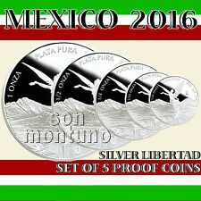 Best Price for 2016 MEXICO  SET OF 5 SILVER LIBERTAD PROOF COINS in Original Mint Capsules