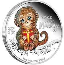 Discounted 2016 Tuvalu BABY MONKEY 12 oz SIlver Proof 50c Coin Lunar Year Colorized