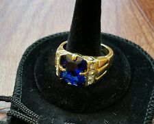Low Priced MENS SIZE 13 BLUE SAPPHIRE GEMSTONE 10K YELLOW GOLD FILLED RING