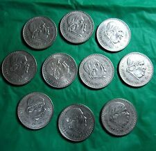 Cheap Price Mexico Lot  of 10 coins 1 Peso Morelos 1947  1948 Silver FREE SHIPPING