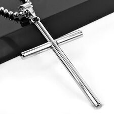Best Price New Mens Silver Stainless Steel Cross Pendant Necklace