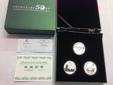 2011 CHINA SILVER WORLD WILD LIFE FUND ANNIVERSARY Elk PANDAS 3 COIN SET WWF 999 for Sale Online