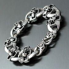 Bargain 8 Mens Vintage Gothic Skull Cross Silver 316L Stainless Steel Chain Bracelet