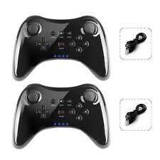 For Sale 2X Pro Wireless Bluetooth Controller Gamepad  USB Cable Black for Nintendo Wii