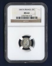 Cheapest FRANCE  1847A  25 CENTIMES SILVER COIN UNCIRCULATED NGC CERTIFIED MS62