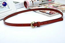 Women Girl Retro Narrow Skinny Genuine Leather Brown Waist Pants band Belt On Line