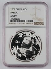 Price Comparisons China 2007 1 Oz 999 Silver Panda 10 Yuan Coin NGC MS69 GEM BU