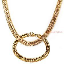 New Charm 18K Gold Stainless Steel Jewelry Set Mens Curb Cuban Necklace Bracelet Best Price