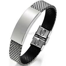 Cheapest Fashion Silver Stainless Steel Black Leather Cuff Bangle Mens Wristband Bracelet Online
