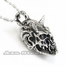 Big Discount Mens Silver Demon Devil Skull Stainless Steel Biker Pendant Chain Necklace