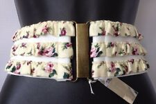 Big SALE NEW BCBGeneration BCBG BELT SIZE SMALL  MEDIUM FLORAL BELT WHITE WIDE WAIST