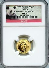 Affordable CHINA  2003  PANDA  110 OZ  GOLD  50 YUAN   NGC MS 70  FROSTED BAMBOO