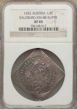 Cheap AUSTRIA SALZBURG  1652  14 THALER  KLIPPE  SILVER COIN CERTIFIED NGC XF45 Online