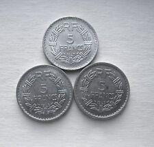 On Sale 1945 1947 5 FRANCS FRANCE 3 COINS KM 888b1